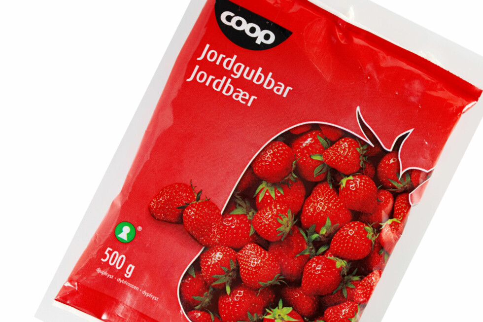 Coop tilbakekaller frosne jordbær grunnet mistanke om at bærene er smittekilde for Hepatitt A. Foto: Coop Norge