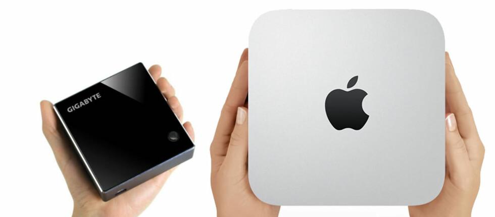 Små datamaskiner kan oftere og oftere erstatte store. Brix er så liten at den får selv Mac Mini til å se ut som en sværing. Foto: Produsenten