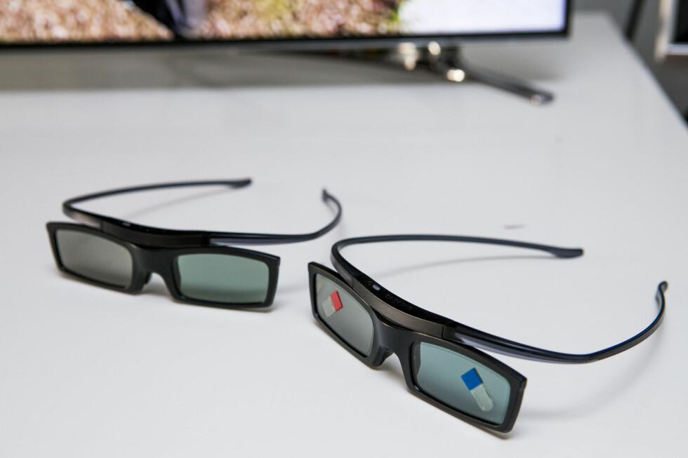 3D-brillene virker godt, og er svært lette å ha på hodet. Ulempen er at de slipper inn litt mye lys på sidene, så vår anbefaling er å dempe lyset. Foto: Per Ervland