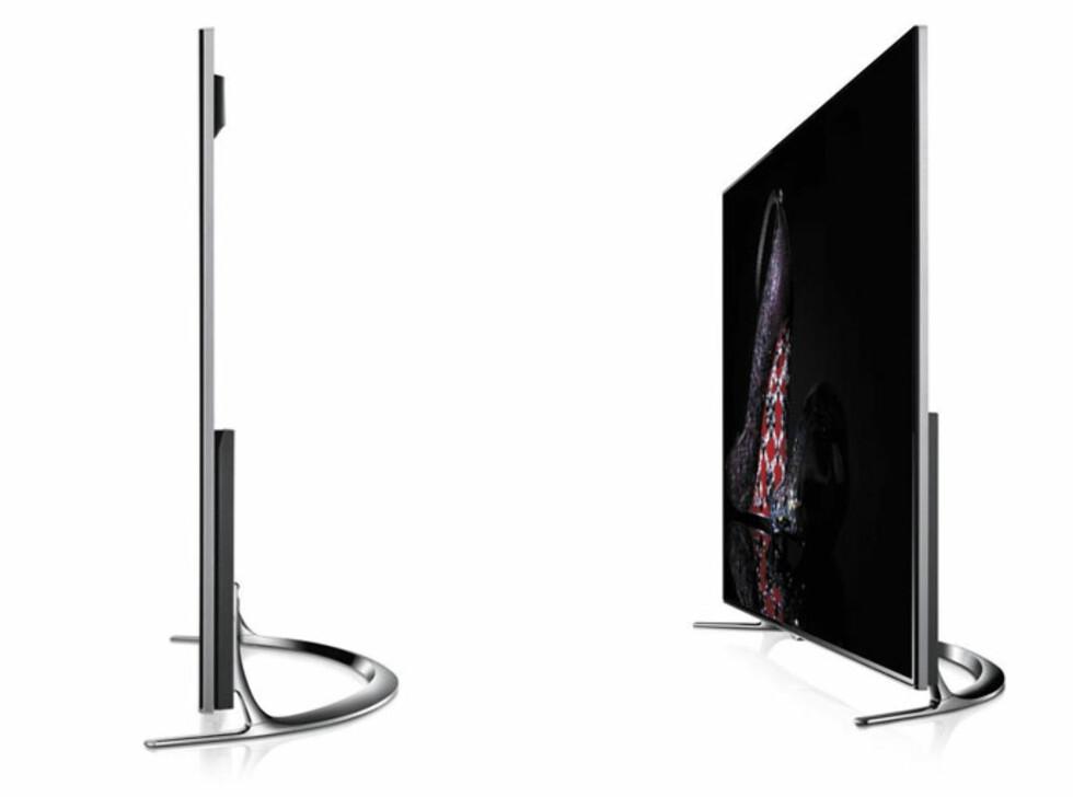 Smal og elegant. Vi liker også den nye foten, men legg merke til at dybden gjør at TV-en ikke kommer helt inntil veggen. Er det viktig må du altså gå for veggfeste. Foto: Produktbilder
