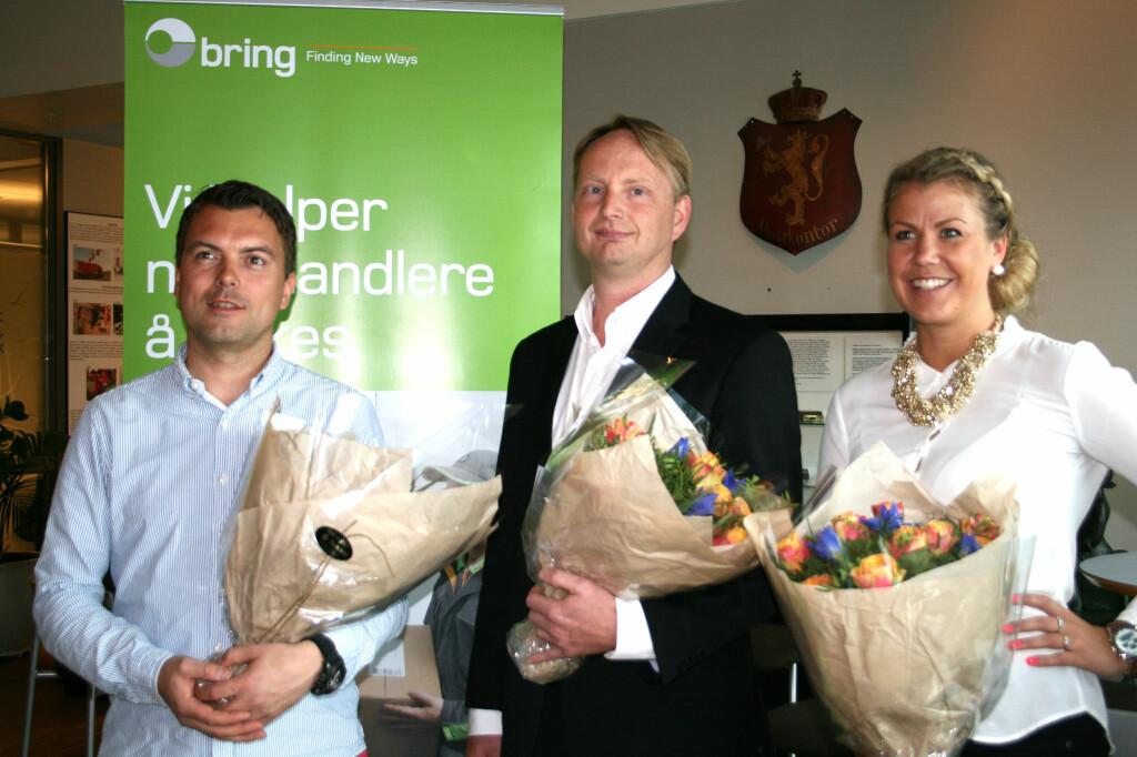 Tre finalister, én vinner: Fra venstre Bjørn Henning Rørvik i Kmplett, Filip Elverhøy i NetonNet og Maria K. Ebbestad i Kondomeriet. Foto: Berit B. Njarga