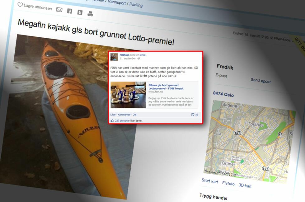 DOBBELT ULOVLIG: Norsk Tipping utga seg for å være en forbruker da de gjennomførte sitt skjulte reklamestunt. Resultatet ble en bot på 200.000 kroner.  Foto: Finn.no/Facebook.com/DinSide.no
