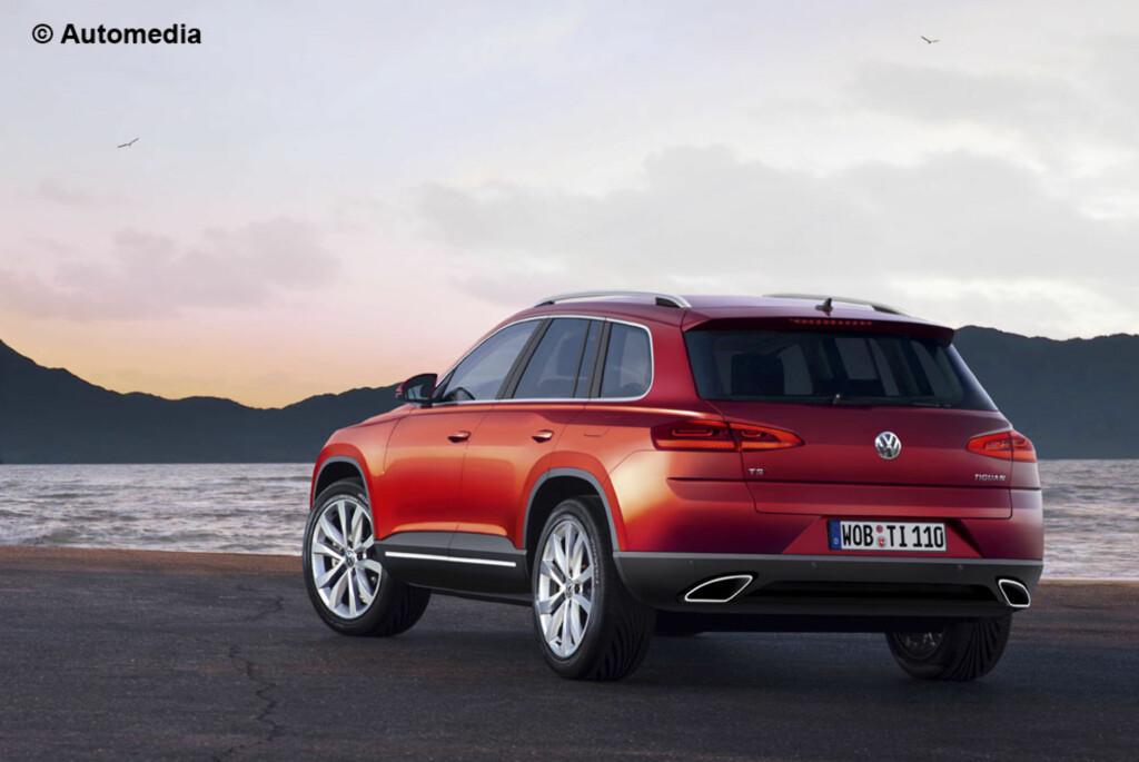 Her ser vi Automedias datagenererte bilde av den kommende 7-seteren fra Volkswagen, VW Tiguan XL. Den vil plassere seg mellom Tiguan og Touareg. Foto: Automedia
