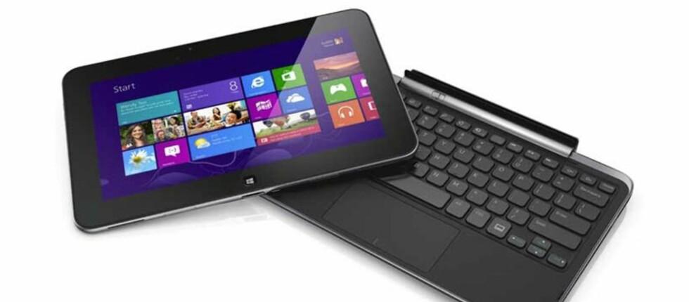 Dell XPS 10 er et Windows RT-basert nettbrett. Nå kuttes prisen betydelig. Merk at tastaturet er ekstrautstyr. Foto: Dell