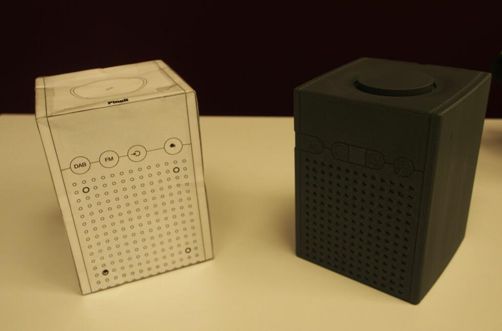 Den første papp-prototypen til venstre. Til høre ser du den 3D-rendrede versjonen. Foto: Øyvind P