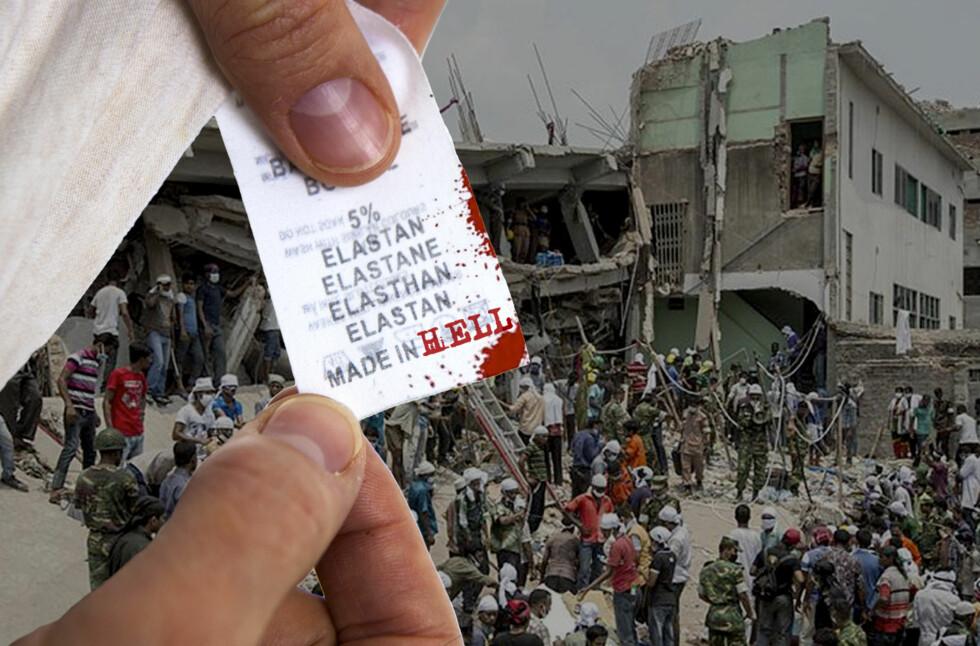 Over tusen mennesker døde da tekstilfabrikken Rana Plaza raste sammen i slutten av april. Fabrikken produserte blant annet klær for merkene Mango og Primark. Foto: PER ERVLAND/ALLOVER