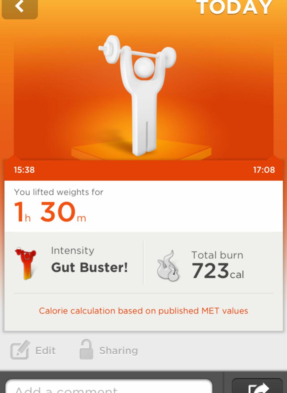 Skjermdump fra Jawbones tilhørende Up-app. Foto: Gaute Beckett Holmslet