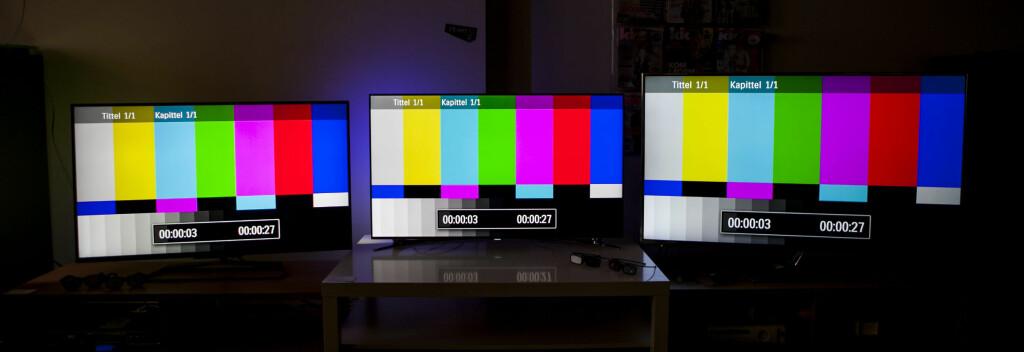 Philips til venstre, Samsung i midten, og Panasonic til høyre. Foto: Per Ervland