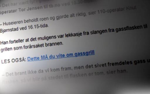 SKJER: I fjor startet en brann på Tjøme, som kan ha vært en direkte følge av lekkasje fra gasslange i gassgrill. Foto: TB.no