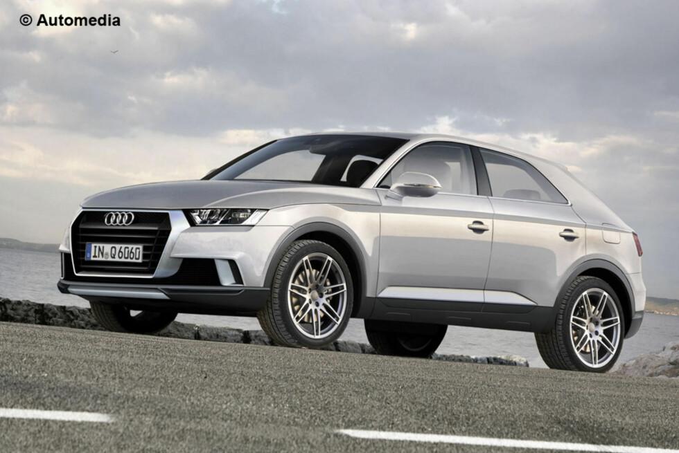 Slik mener Automedia at den kommende Audi-crossoveren, Q6, kommer til å se ut. Foto: AUTOMEDIA