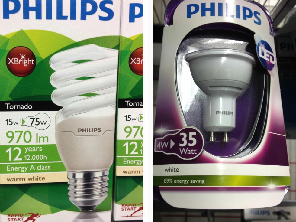 På emballasjen til venstre får du vite reell wattstyrke, hva det skal tilsvare i forhold til gammel wattstyrke, samt lumen og levetid. Emballasjen til høyre er langt mer hemmelighetsfull. Foto: Gaute Beckett Holmslet