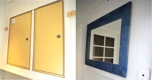 FØR OG ETTER: Skjul gjerne sikringsskapet bak en dør eller et speil, slik som her, men sørg for at det er gjort slik at du enkelt kan komme til, selv om du er alene, er rådet fra Grav. Foto: Kristin Sørdal