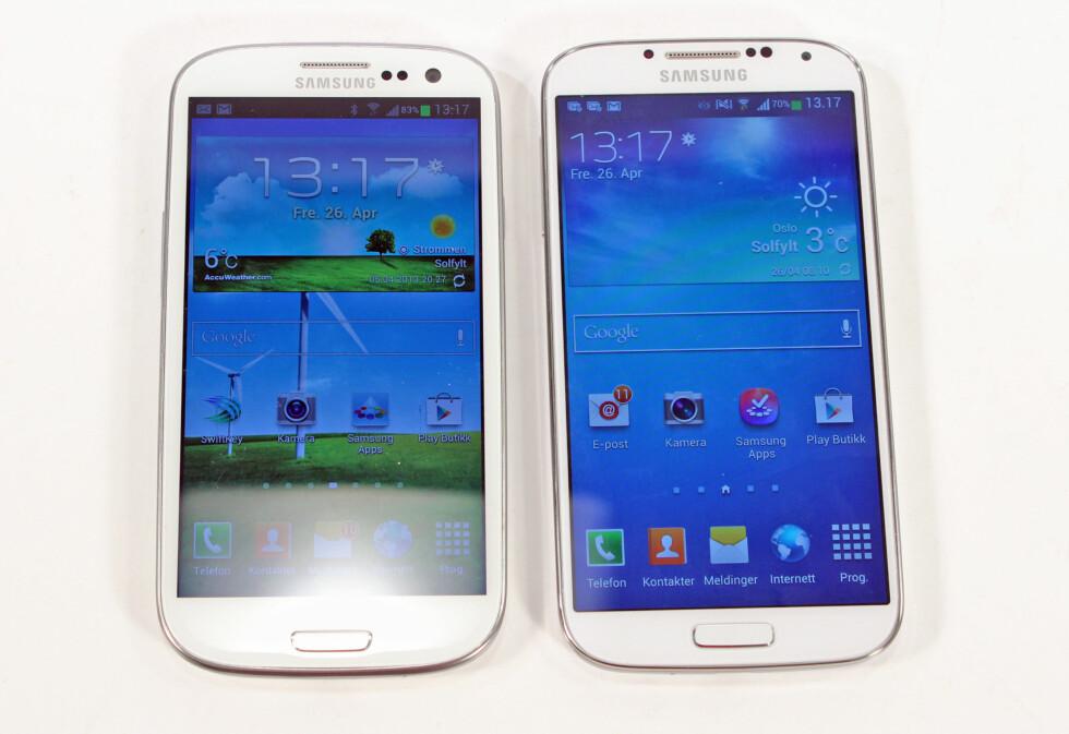 Galaxy S3 og S4 - ser du forskjell? Foto: Kirsti Østvang
