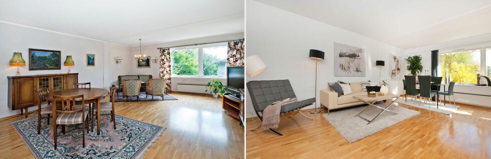 Stuen før og etter styling. De fleste vil nok anta at stilen på bildet til høyre virker mer forlokkende på boligkjøperne. Foto: Bo Styling