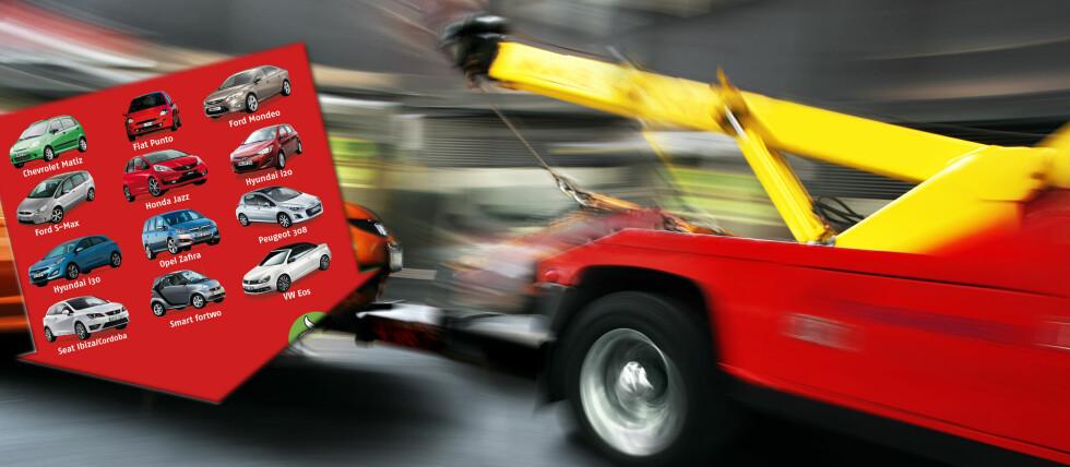 Dette er bilene som oftest må ha veihjelp, ifølge ADAC. Foto: Colourbox/ADAC