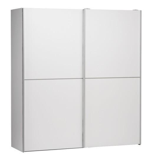 torino garderobe 2-dørs i hvit med skyvedører   B:182,4 D:64 H:201 cm Vnr. 7855300 Tilleggsinnredning: 3 stk hyller B:89 D:48,8 H:1,5 cm 350,- Vnr. 7855301 Foto: Skeidar