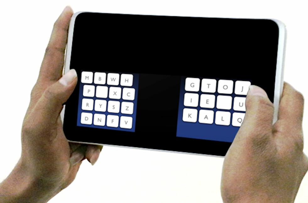TOMMELTASTING: Å skrive med tomlene på et nettbrett går ikke alltid like fort. Med KALQ-tastaturet skal det imidlertid bli fart på sakene.  Foto: Max-Planck-Institut Informatik