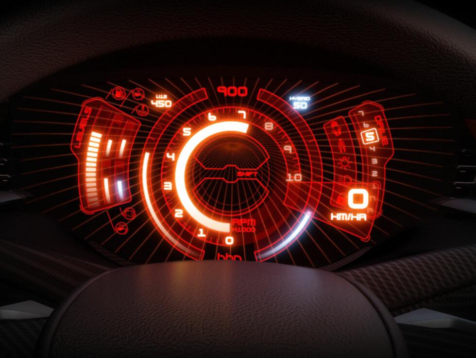 Speedomteret ser litt sci-fi ut, men vil antagelig ikke dukke opp i en serieprodusert bil med det første.  Foto: Icona