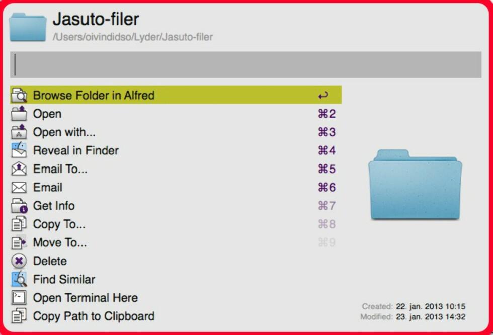 ETTERBEHANDLING: Etter at du har søkt fram en fil, kan du utføre en rekke operasjoner på filen (eller, som i dette tilfellet, katalogen).