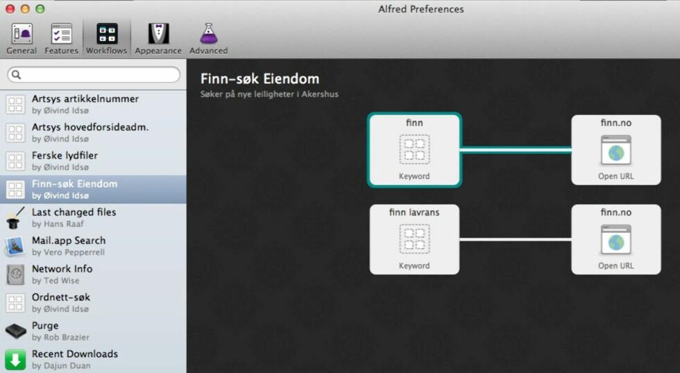 """ARBEIDSFLYT: Slik kan en svært enkel """"workflow"""" se ut i Alfred 2.0. Her søkes det blant annet etter boliger til salgs på Finn."""