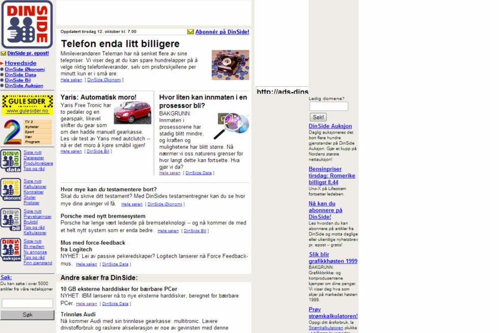 DinSide.no, 1999. Noe tidligere enn dette har vi ikke klart å oppdrive.  Foto: Ole Petter Baugerød Stokke