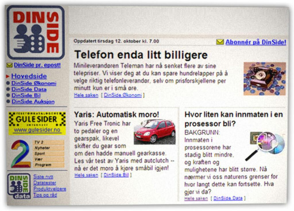 """DINSIDE I 1999: Dette er den tidligste skjermdumpen av DinSide vi klarer å lage, og viser DinSide.no 12. oktober 1999. Andre artikler den dagen var """"10 GB eksterne harddisker for bærbare PCer"""" og test av PC med 466 MHz.  Foto: Ole Petter Baugerød Stokke"""