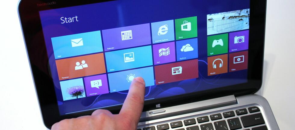 Hvem er det egentlig som ønsker å styre PC-en med fingrene på en vertikaltstilt skjerm, spør blant annet vår dataredaktør. Foto: Bjørn Eirik Loftås