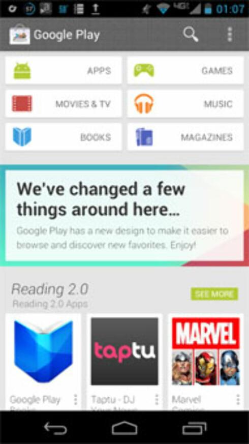 Slik ventes nye Google Play å se ut. (Foto: Engadget)