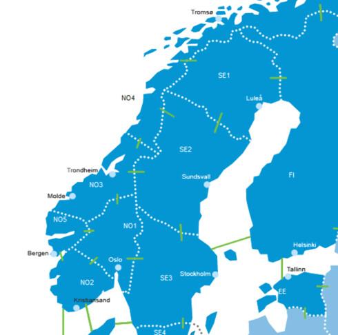 Her kan du se hvilken strømsone du tilhører. Foto: Nordpool.com