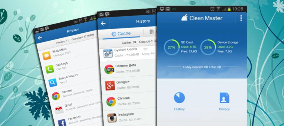 KJEKT: Med Clean Master kan du ta vårrengjøringen på Android-telefonen din. Foto: Pål Joakim Olsen