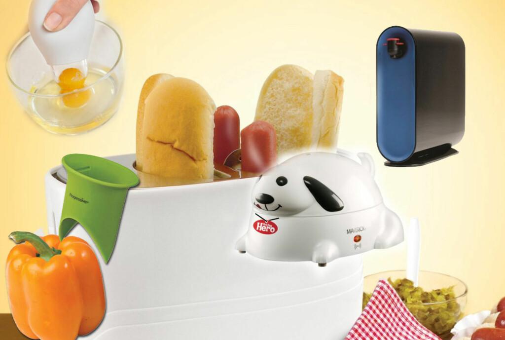 Pølsevarmere, vinboks-boks, paprikautskjærer og eggeplomme-oppsuger. Nødvendigheter? Neppe ... Foto: Produsentene