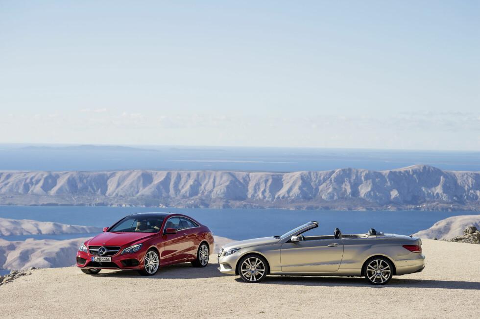 Bildekjønne nyheter - E-klasse kupé til venstre, kabriolet med nedfelt stofftak til høyre. Foto: Daimler