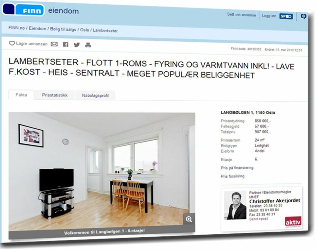 Billigst i Oslo på søketidspunktet var denne 24 kvadratmeter store 1-roms leiligheten på Lambertseter. Totalpris 907.000 inkludert fellesgjeld. Foto: Finn.no