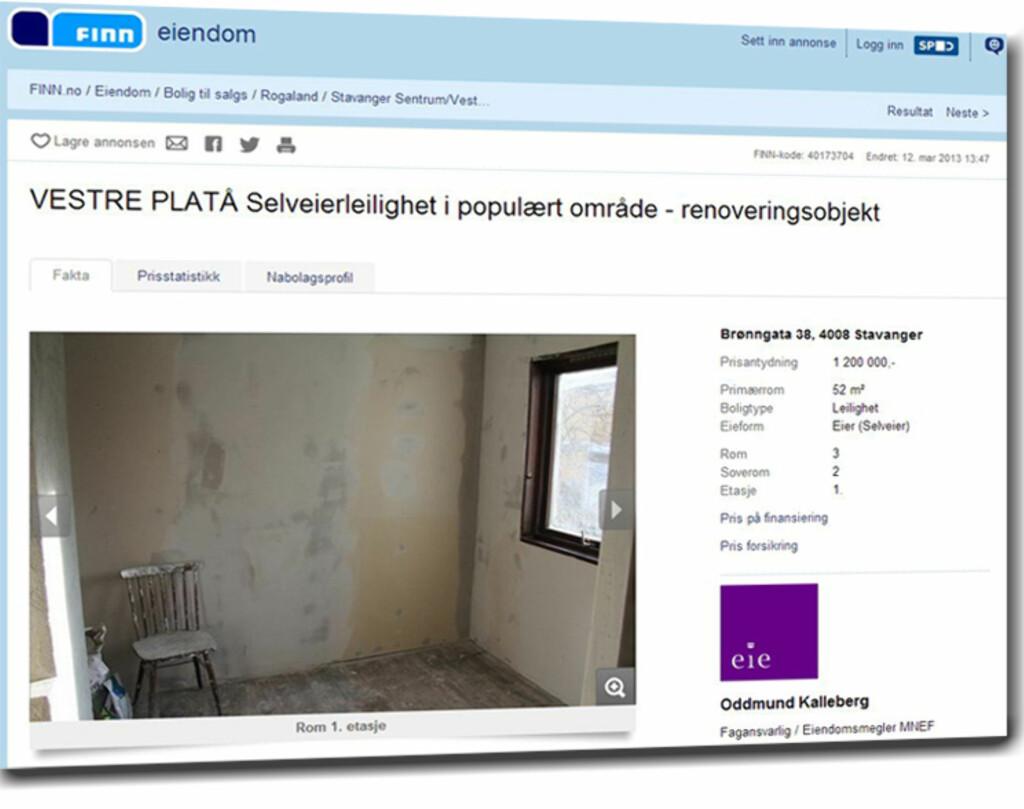 """Billigst i Stavanger var denne 52 kvadratmeter store selveierleiligheten på Vestre Platå. Totalprisen er 1,2 millioner, men boligen er merket """"renoveringsobjekt"""". Foto: Finn.no"""