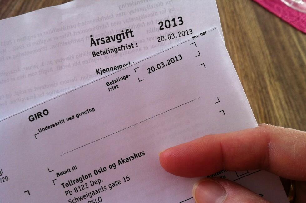Regningen kommer hvert år, og må betales selv om du ikke har fått papirene i posten. Foto: Kristin Sørdal