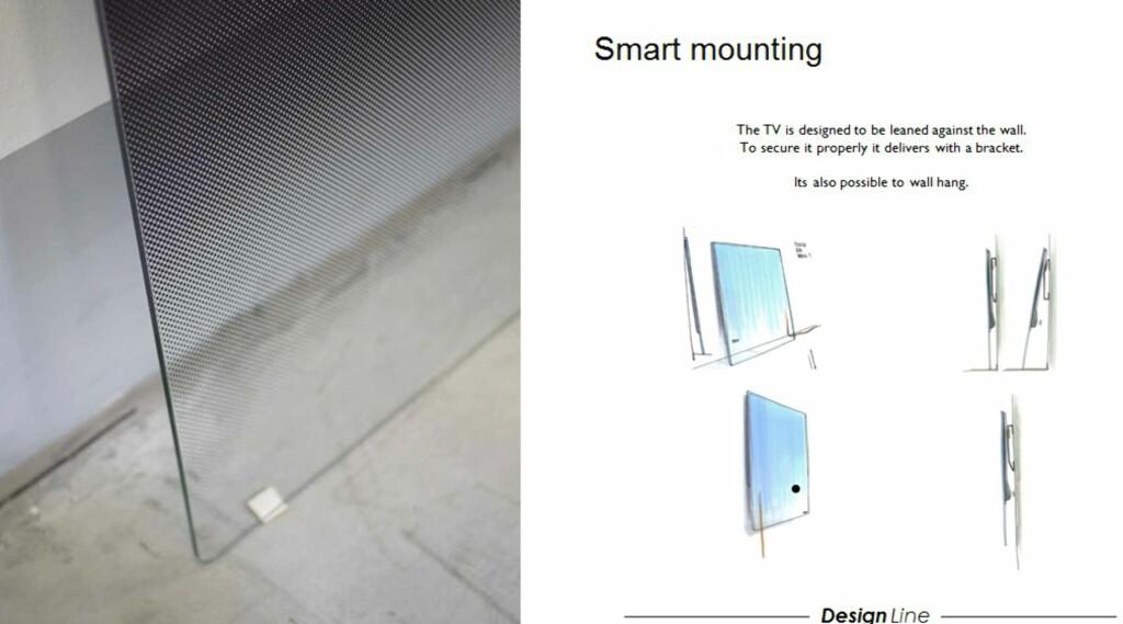 TV-en kan lenes skrått mot veggen slik at den hviler mot veggfestet. De to krampene nederst på glassfronten er forøvrig av den sklisikre typen. TV-en kan også stå loddrett mot veggen, eller henges høyere opp på veggen om du ønsker det. Foto: Produktbilde