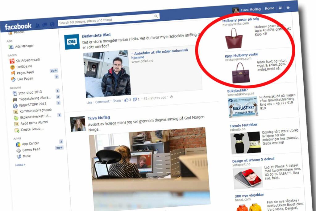 Kjente merkevarer som Mulberry og Nike er populære lokkemidler blant useriøse aktører på internett. Foto: Tuva Moflag