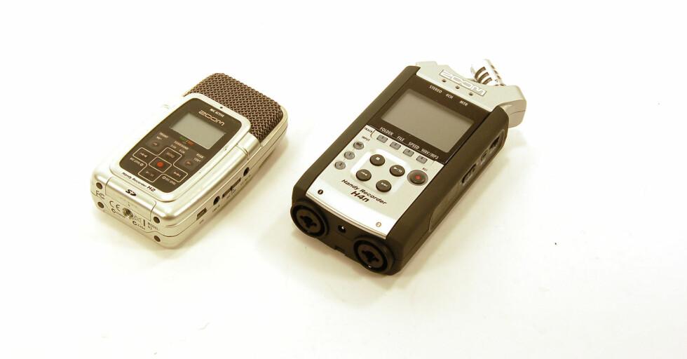 En enkel og en mer avansert opptaker, den siste med mulighet for eksterne mikrofoner i tillegg til de faste, og opptak på 4 spor. Foto: Brynjulf Blix