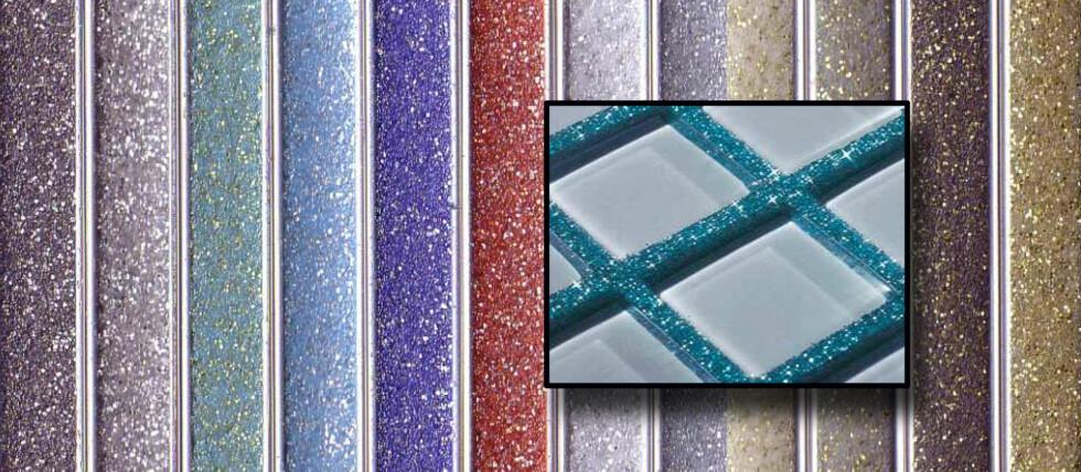 Kerapoxy Design fugemasse kommer i 15 farger som kan blandes med sølv- eller gullglitter for en glitrende effekt. Foto: Mapei/DinSide