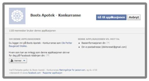 SÅNN, JA: Boots Apotek er blant de som tilsynelatende holder seg innen Facebooks regler, ved blant annet å avholde konkurransen i en egen app.  Foto: Ole Petter Baugerød Stokke