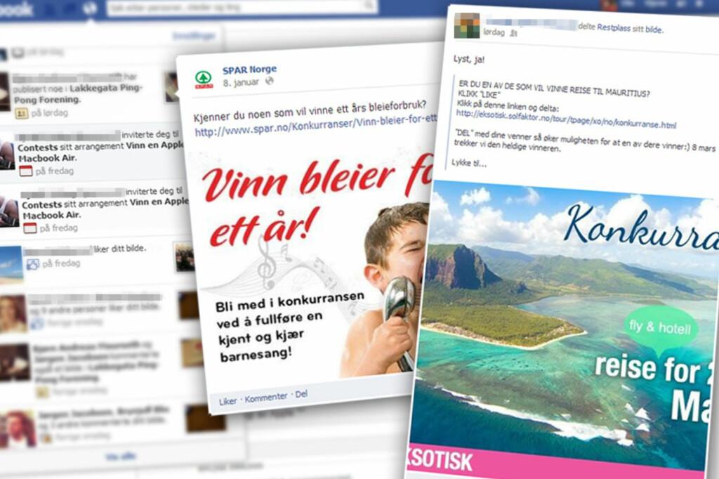 MASSE: Noen Facebook-konkurranser er svindel, noen bryter reglene mens andre bare gir inntrykk av krav som ikke eksisterer.  Foto: Ole Petter Baugerød Stokke