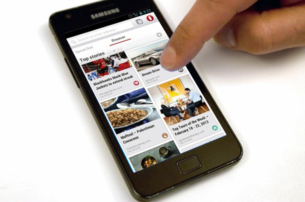 Ved hjelp av ny motor skal Opera bli langt bedre på kompatibilitet. Opera beta for Android er første smakebit. Foto: Marius Jørgenrud/DinSide.no