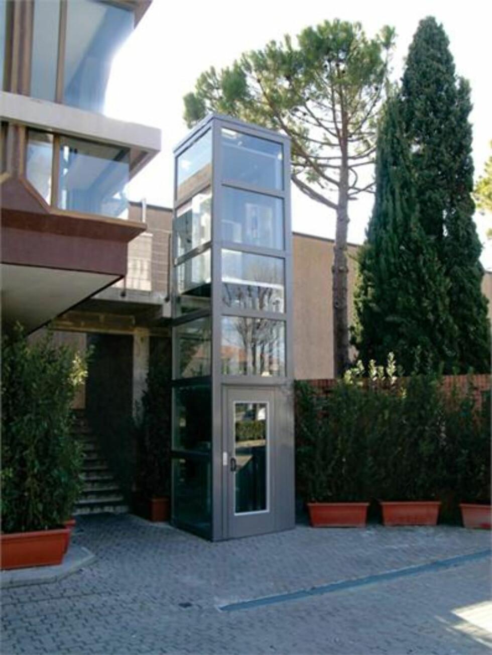 Har du ikke plass inni boligen er det også mulig med utvendige heisløsninger. Foto: ThyssenKrupp Access