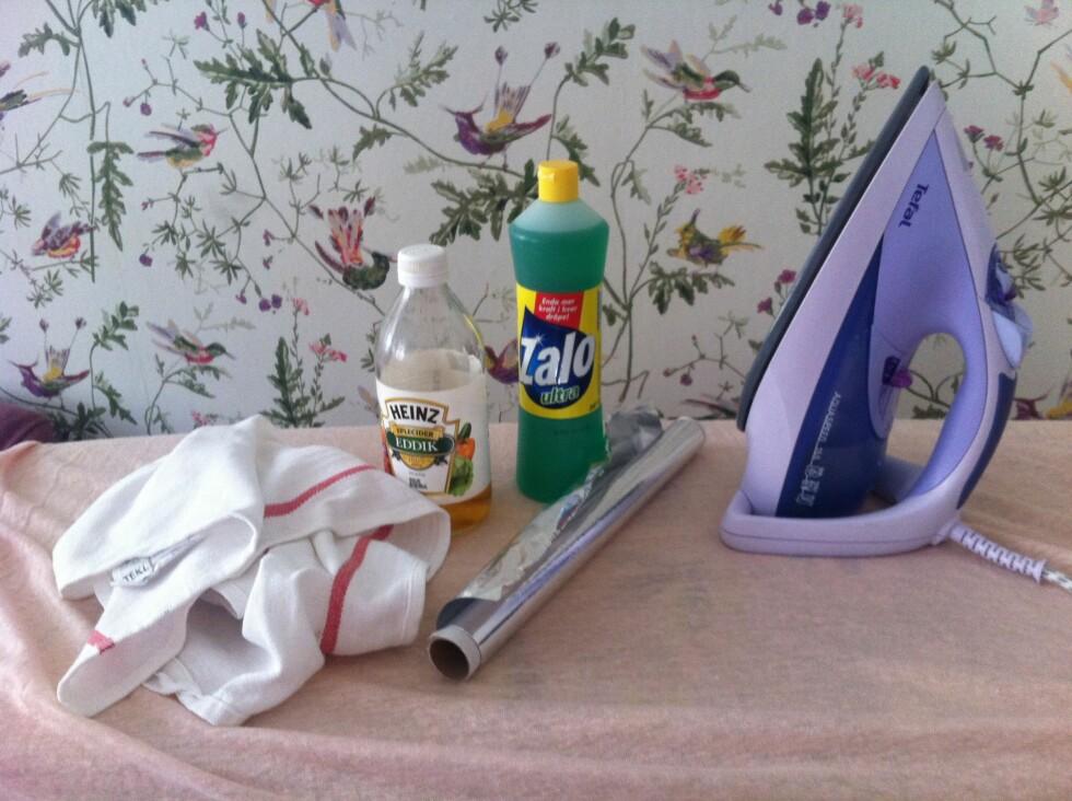 ENKELT: Alt du trenger til å rengjøre strykejernet Foto: Elisabeth Dalseg.