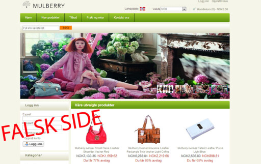 Kopien: Her er Mulberrys egne produktbilder misbrukt. Tilbud som ser for gode ut til å være sanne er som regel det.