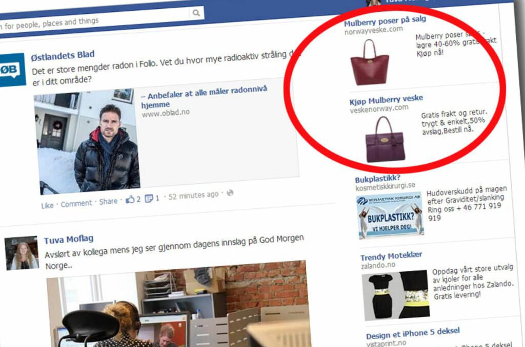 Mulberry-svindlere konkurrerer om oppmerksomheten på Facebook. Se opp for dårlig språk og nettadresser som kombinerer norsk og engelsk. Foto: Tuva Moflag