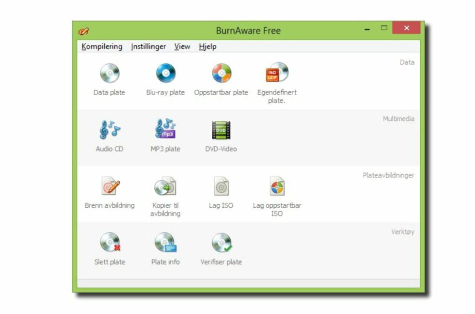 Burnaware Free 6.0 er enkelt, gratis, kommer på norsk, og lar deg brenne CD, DVD og Blu-ray. Det har også noen mer avanserte funksjoner.