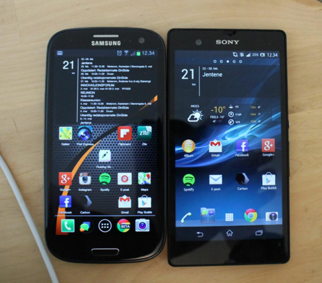 Side om side med 4,8 tommer store Galaxy S III, ser vi faktisk at skjermbildet på Xperia Z er noe mindre når man trekker fra den nederste linja med skjermknapper.