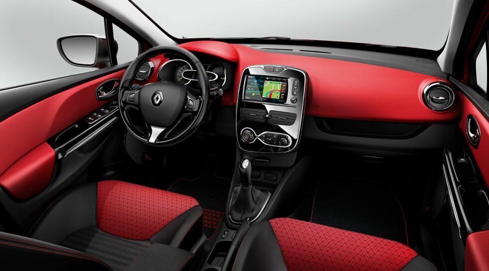 Interiøret kan også fås i kvikke farger. Foto: Renault