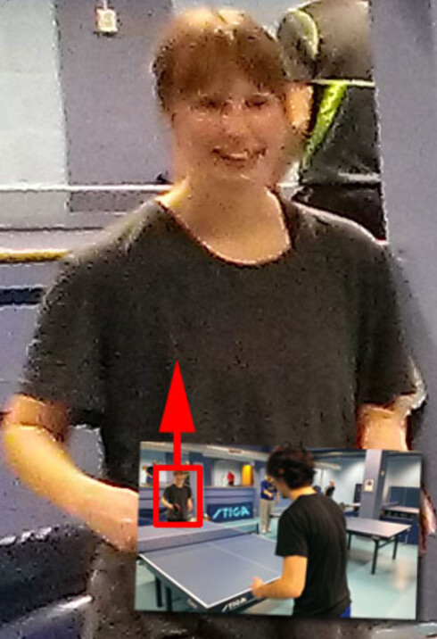 <strong>UFFDA:</strong> Dette skal være en kvinnelig ping-pong-spiller. Når vi kjører henne opp i 100 prosent fra HTC One SV-bildet ser hun dog mer ut som noen klatter maling.